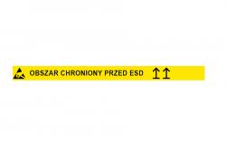 Taśma podłogowa obszar chroniony przed ESD tekst strzałki