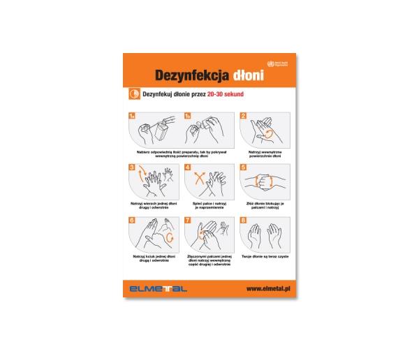 Instrukcja dezynfekcji rąk - tablica informacyjna BHP