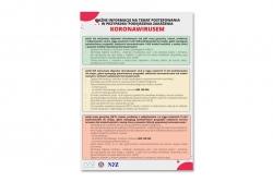 Postępowanie w przypadku podejrzenia zakażenie koronawirusem tablica informacyjna