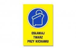 Osłaniaj twarz przy kichaniu - tablica informacyjna BHP
