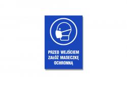 Przed wejściem załóż maseczkę ochronną - niebieska naklejka BHP