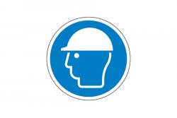 Nakaz ochrony głowy naklejka podłogowa