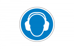 Nakaz ochrony uszu naklejka podłogowa