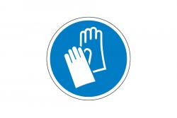 Nakaz ochrony rąk naklejka podłogowa