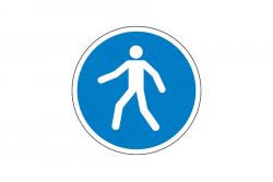 Nakaz przechodzenia w oznakowanym miejscu naklejka podłogowa