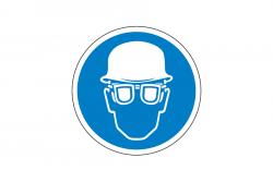 Nakaz ochrony głowy i oczu naklejka podłogowa