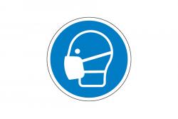 Nakaz stosowania maski przeciwpyłowej naklejka podłogowa