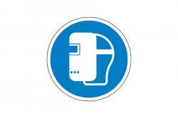 Nakaz używania maski spawalniczej naklejka podłogowa