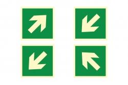 Strzałka kierunku ewakuacji kąt 45 stopni - znak ewakuacyjny