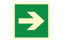 Strzałka kierunku ewakuacji kąt 90 stopni - znak ewakuacyjny