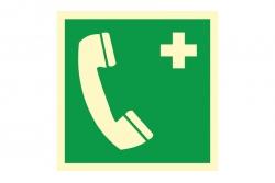 Telefon alarmowy - znak BHP