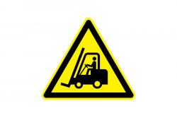 Uwaga! Urządzenia do transportu poziomego naklejka podłogowa
